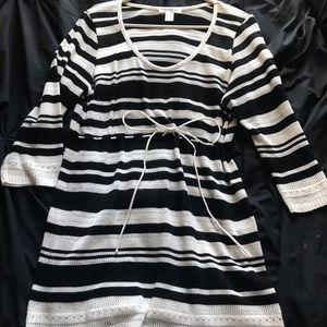 Motherhood Maternity Black/White Striped Sweater